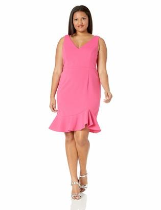 Betsey Johnson Women's Plus Size Scuba Crepe Dress with Ruffled Hem