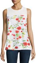 Kensie Sleeveless Floral-Print Lace-Yoke Woven Top