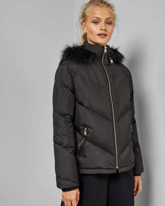 Ted Baker LAVENIA Quilted jacket with faux fur hood