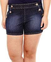 Arizona Dot High-Rise Denim Shorts - Juniors Plus