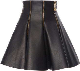 Versace Zip-Detailed Flared Leather Skirt