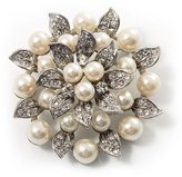 Avalaya Bridal Synthetic Pearl Floral Brooch (Light Cream)