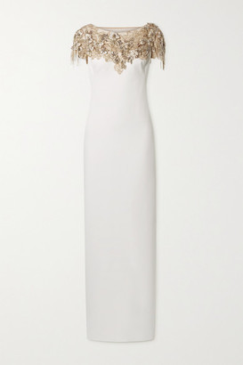 Marchesa Embellished Tulle-trimmed Crepe Gown - Ivory