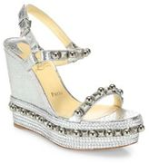 Christian Louboutin Cataconico 120 Metallic Python-Print Leather Wedge Platform Slingbacks