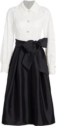 Teri Jon by Rickie Freeman Lace Shirt Flare Dress