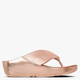 FitFlop Twiss Rose Gold Leather Toe Post Sandals