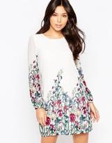 Yumi Long Sleeve Garden Print Shift Dress