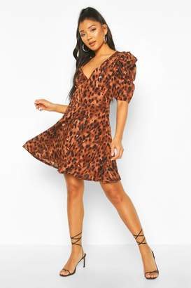 boohoo Leopard Print Puff Sleeve Skater Dress