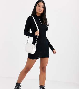 Brave Soul Petite goswell zip pull jumper dress-Black