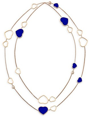 Chopard Happy Hearts 18K Rose Gold, Lapis Lazuli & Diamond Necklace