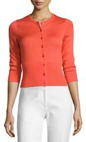 Lela Rose 3/4-Sleeve Button-Front Cardigan, Red