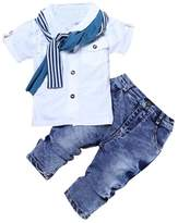 TONSEE 1 Set Kids Baby Boys Short Sleeve T-Shirt +Scarf+Pants