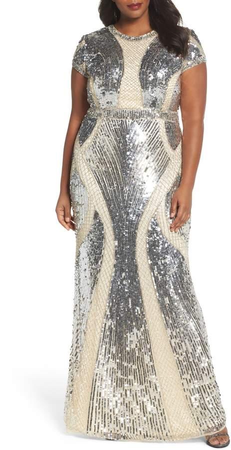 Mac Duggal Jewel Neck Sequin Gown