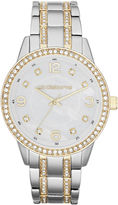 Liz Claiborne Womens Two-Tone Crystal Large-Scale Watch