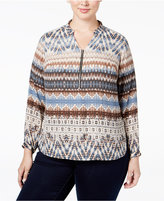 NY Collection Plus Size Printed Zip-Front Shirt