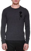 Dolce & Gabbana Rose Embroidery Long-Sleeve Crewneck Sweater, Gray