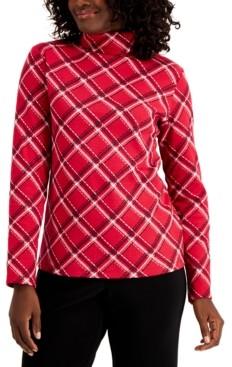 Karen Scott Plaid Long-Sleeve Turtleneck, Created For Macy's
