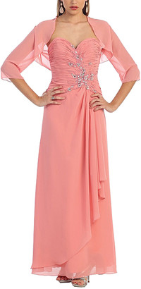 Mayqueen MayQueen Women's Special Occasion Dresses Dusty - Dusty Rose Strapless Gown & Shrug - Women