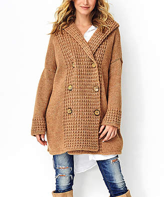 Makadamia Women's Non-Denim Casual Jackets camel - Camel Button-Front Hooded Jacket - Women