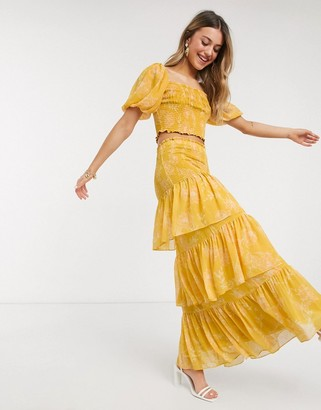 Ever New tiered ruffle maxi skirt two-piece in mustard floral