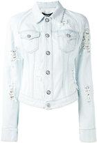 Versus distressed denim jacket - women - Cotton/Polyester/metal - 40