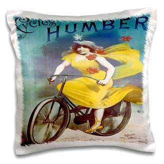 3drose 3dRose Humber Cycles with Woman in Yellow Dress riding a Bicycle Advertising Poster - Pillow Case, 16 by 16-inch