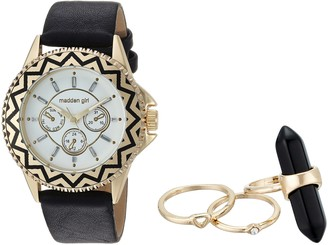Steve Madden Women's Japanese-Quartz Watch with Leather-Synthetic Strap