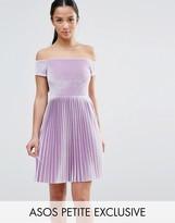 Asos Velvet Off Shoulder Dress with Pleated Skirt