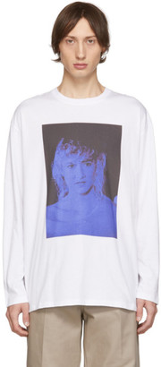 Raf Simons White Blue Velvet Long Sleeve T-Shirt