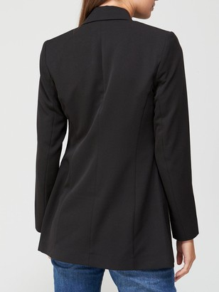 Very The Longline Double Breasted Blazer - Black