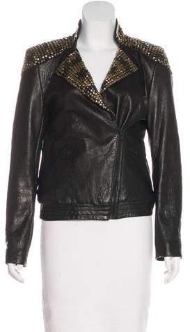 Alice + Olivia Embellished Leather Blazer