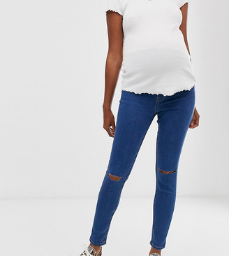 New Look Maternity over bump ripped jeggings in mid blue