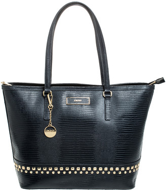 DKNY Black Croc Embossed Leather Studded Bryant Park Tote