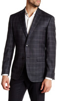 JB Britches Blue Plaid Two Button Notch Lapel Wool Sportcoat