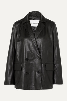 Stand Studio - + Pernille Teisbaek Cassidy Double-breasted Leather Blazer - Black