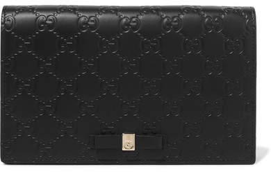 Gucci Bowy Embossed Leather Shoulder Bag - Black