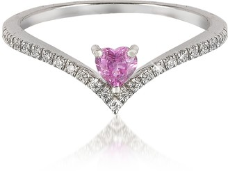 Forzieri V-Shaped Diamonds Band Ring with Enclosed Pink Natural Sapphire Heart