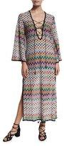 Missoni Mare Zigzag Lace-Up Maxi Beach Dress, Multicolor