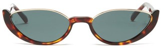Linda Farrow Robyn Half-rim Cat-eye Acetate Sunglasses - Tortoiseshell