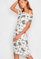 Missy Empire Adira White Floral Off The Shoulder Midi Dress