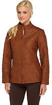 Susan Graver Faux Leather Floral Quilted Zip Front Jacket
