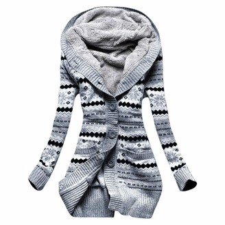 Kalorywee Coats KaloryWee Trench Coat Women Hoodie Outerwear Winter Warm Button Up Casual Artificial Wool Blended Classic Hooded Zipped Pea Coat Jacket Gray