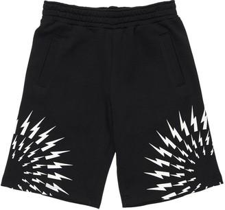 Neil Barrett Lightning Print Cotton Sweat Shorts
