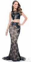 Terani Couture Floral Lace Two Piece Illusion Prom Dress