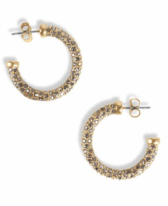 Lucky Brand Gold Pave Encrusted Hoop Earrings