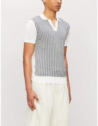Orlebar Brown Silk and cotton-blend knit polo shirt
