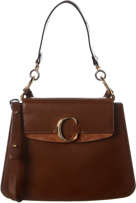 Chloé C Medium Leather & Suede Shoulder Bag