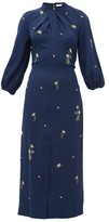 Erdem Finnetta Beaded-flower Crepe Midi Dress - Womens - Navy