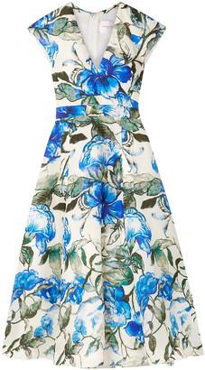 Carolina Herrera Floral-print Silk Crepe De Chine Midi Dress