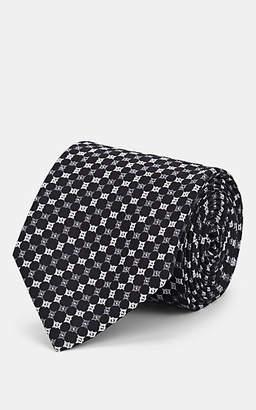 Brioni Men's Square-Pattern Silk Faille Necktie - Black
